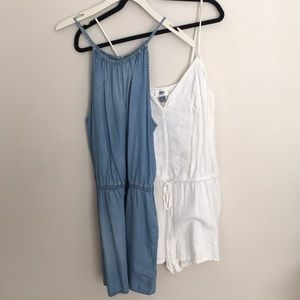 Rompers: Set of 2, white linen and denim